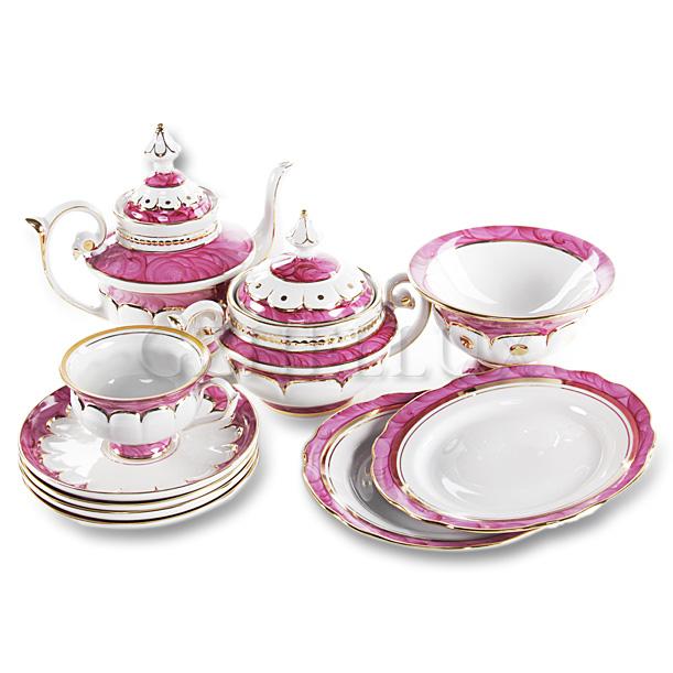 Сервиз чайный «Розовый» в золоте