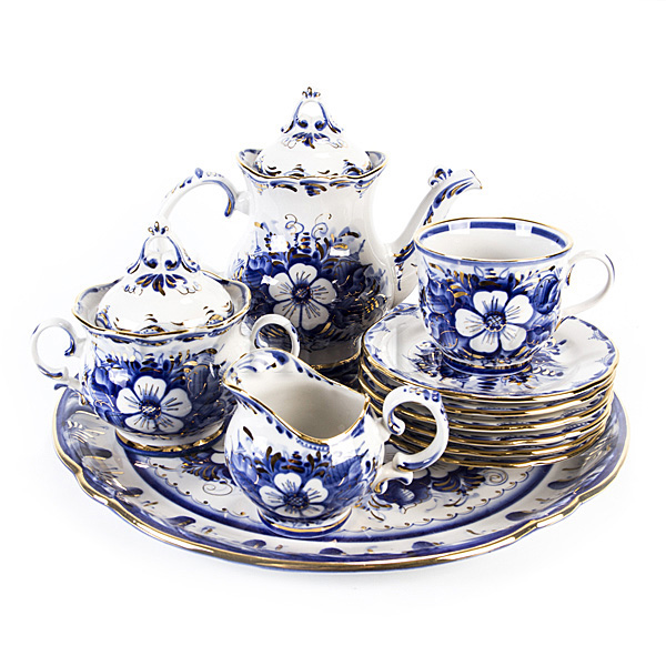 Сервиз чайный «Цветочный» в золоте