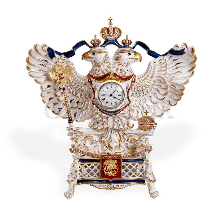 Часы «Двуглавый Орел» красками в золоте