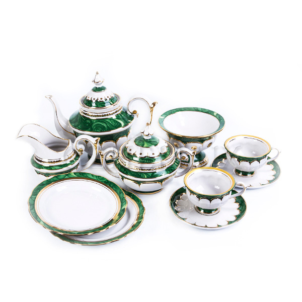 Сервиз чайный «Малахит» в золоте