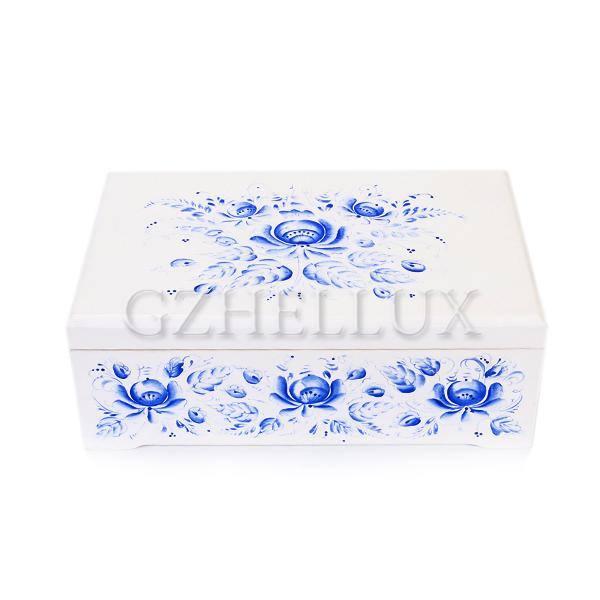 Коробка деревянная в ручной росписи «Гжель» средняя