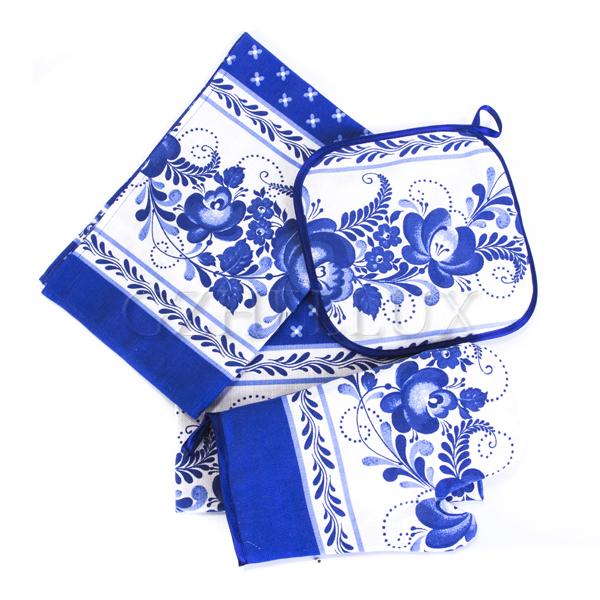 Кухонный набор «Гжель» – полотенце 2 шт., фартук, рукавица, прихватка