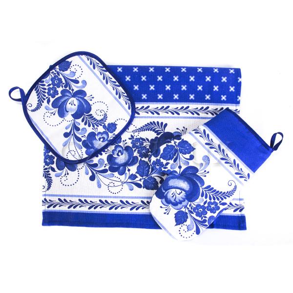 Кухонный набор – полотенце, рукавица, прихватка «Гжель»