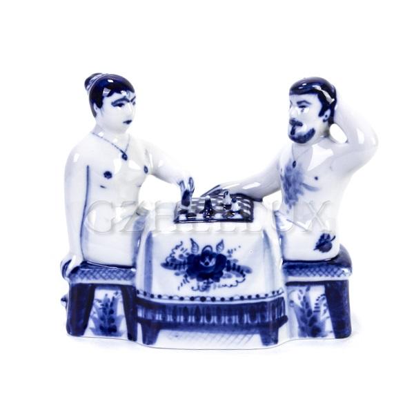 Скульптура «Гжельская Банька» №10 (Играют в шахматы)