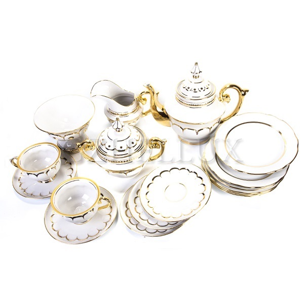 Сервиз чайный «Белый» в золоте