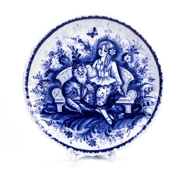 Тарелка декоративная «Девушка с Котом»