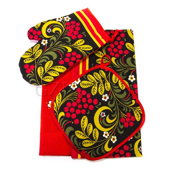 Кухонный набор – полотенце, рукавица, прихватка «Хохлома»