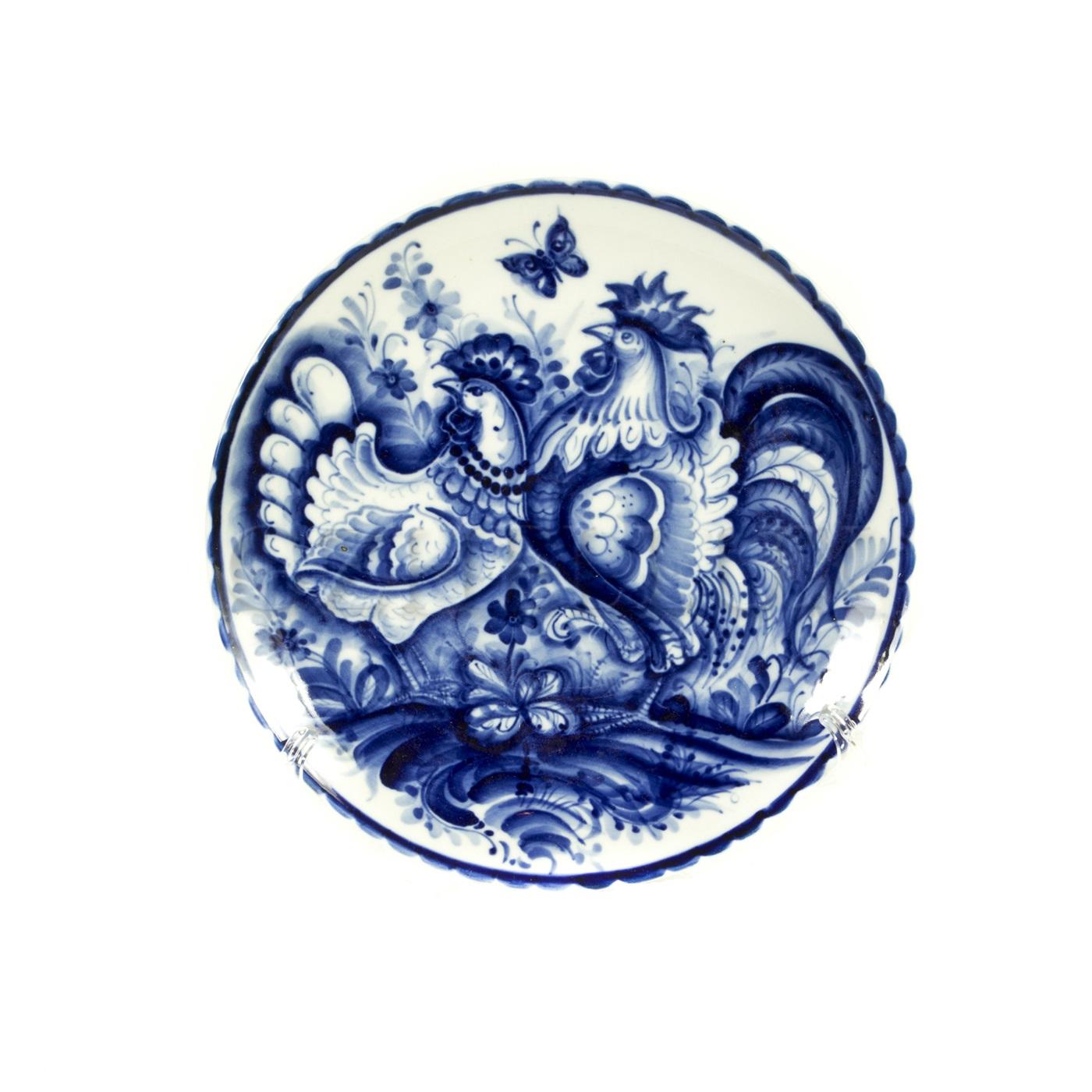 Тарелка декоративная «Петухи»