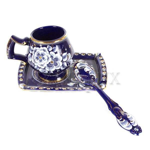 Набор кофейный «Сказка» (глухой кобальт)