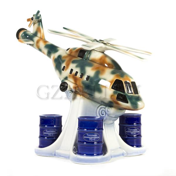 Набор «Штоф Вертолет со стопками-бочками» в красках