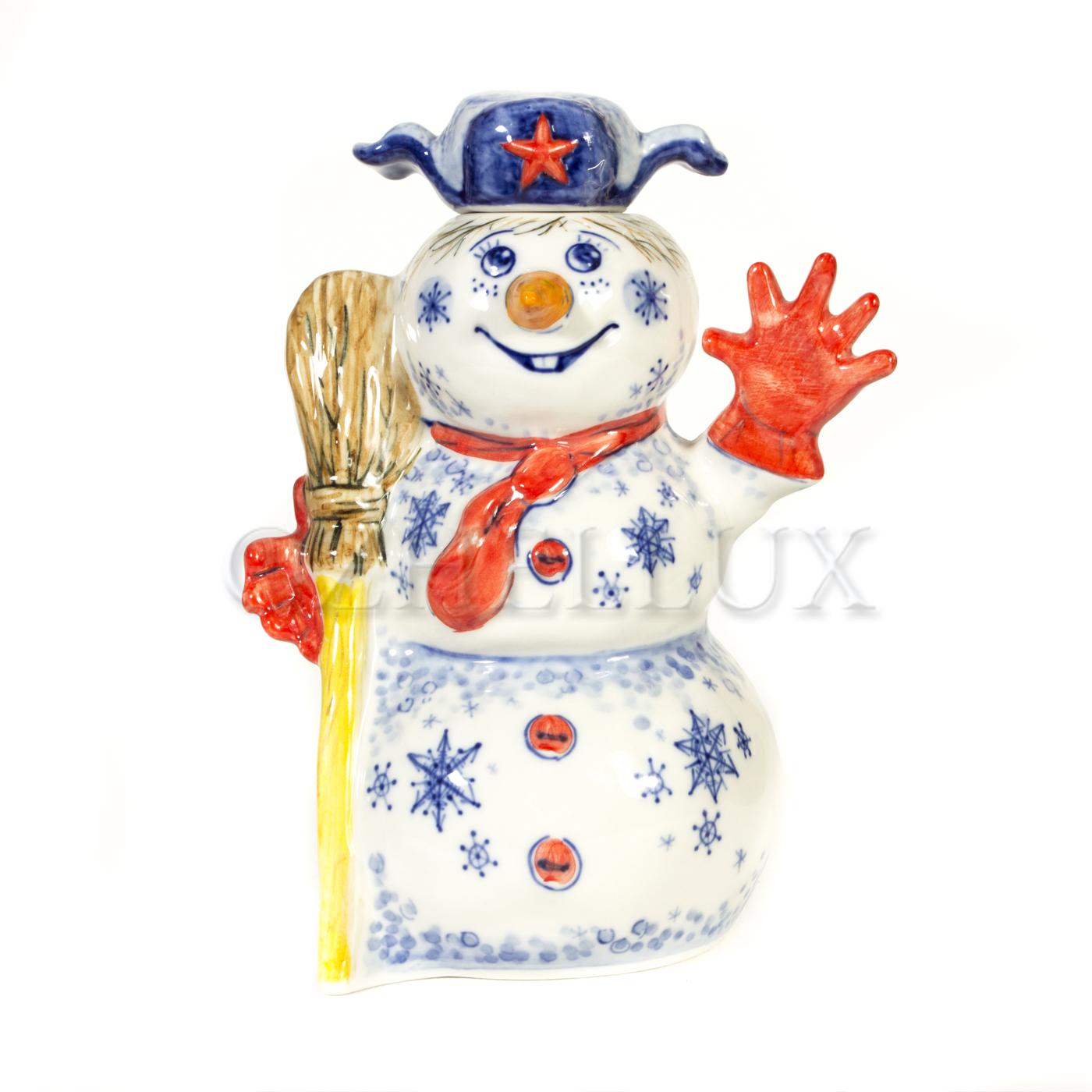 Штоф «Снеговик» в красках
