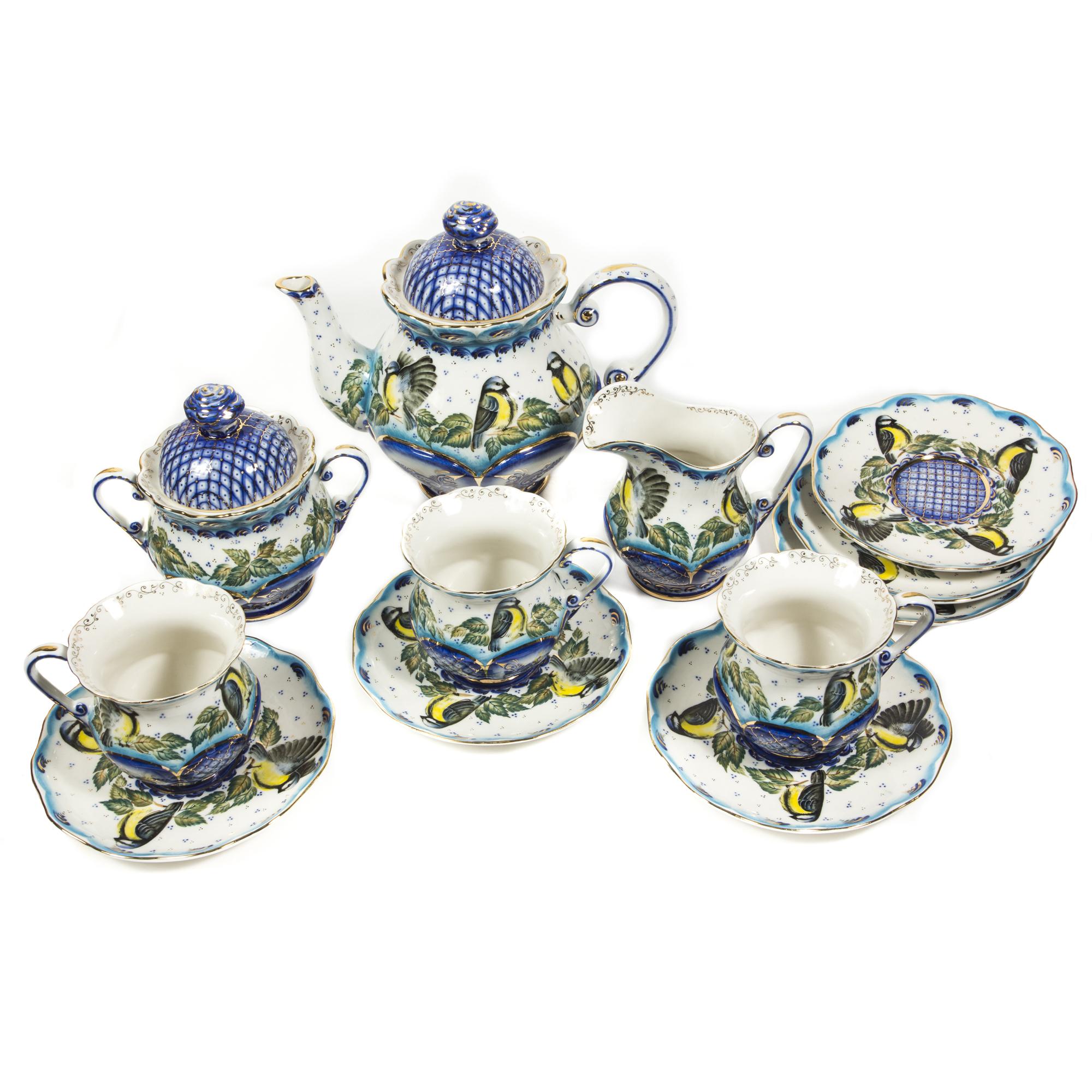 Сервиз чайный «Синица» в красках в золоте