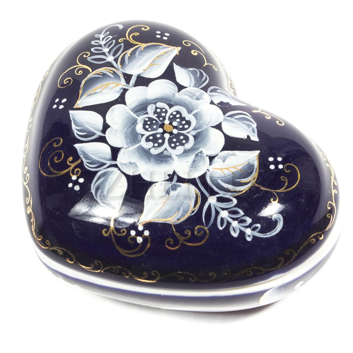 Шкатулка «Сердце» (глухой кобальт)