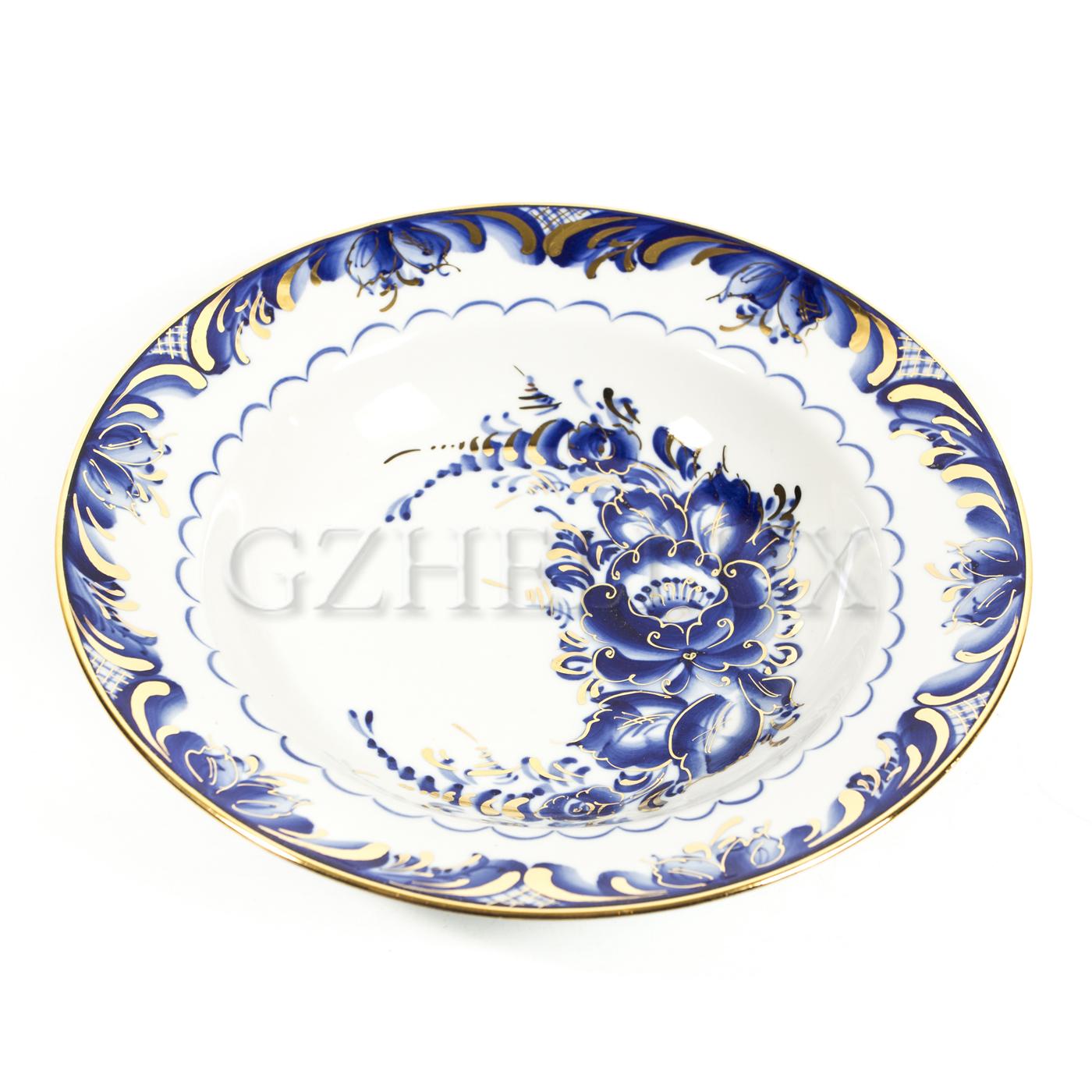 Тарелка «Синие Розы» глубокая в золоте
