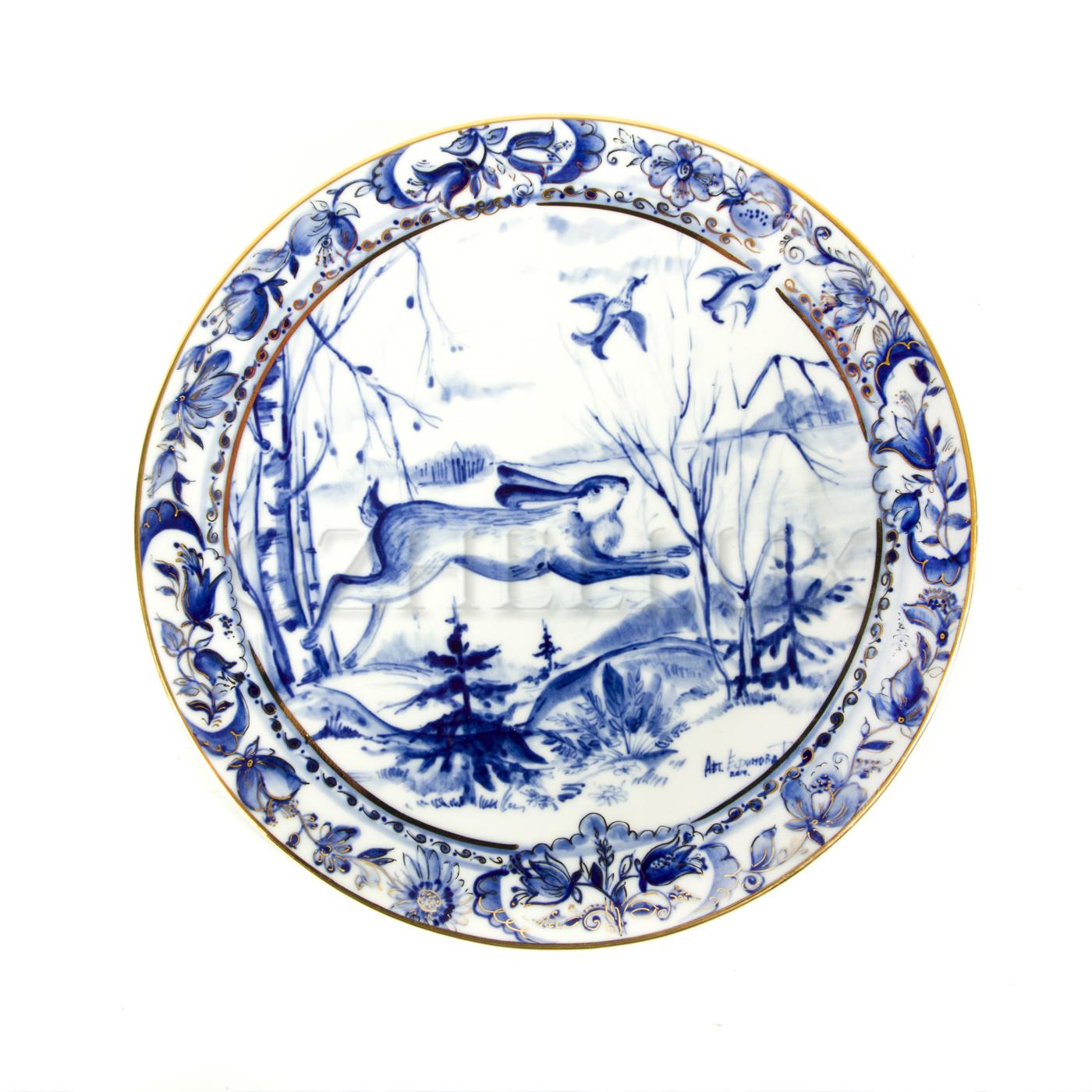 Тарелка декоративная «Заяц» в золоте