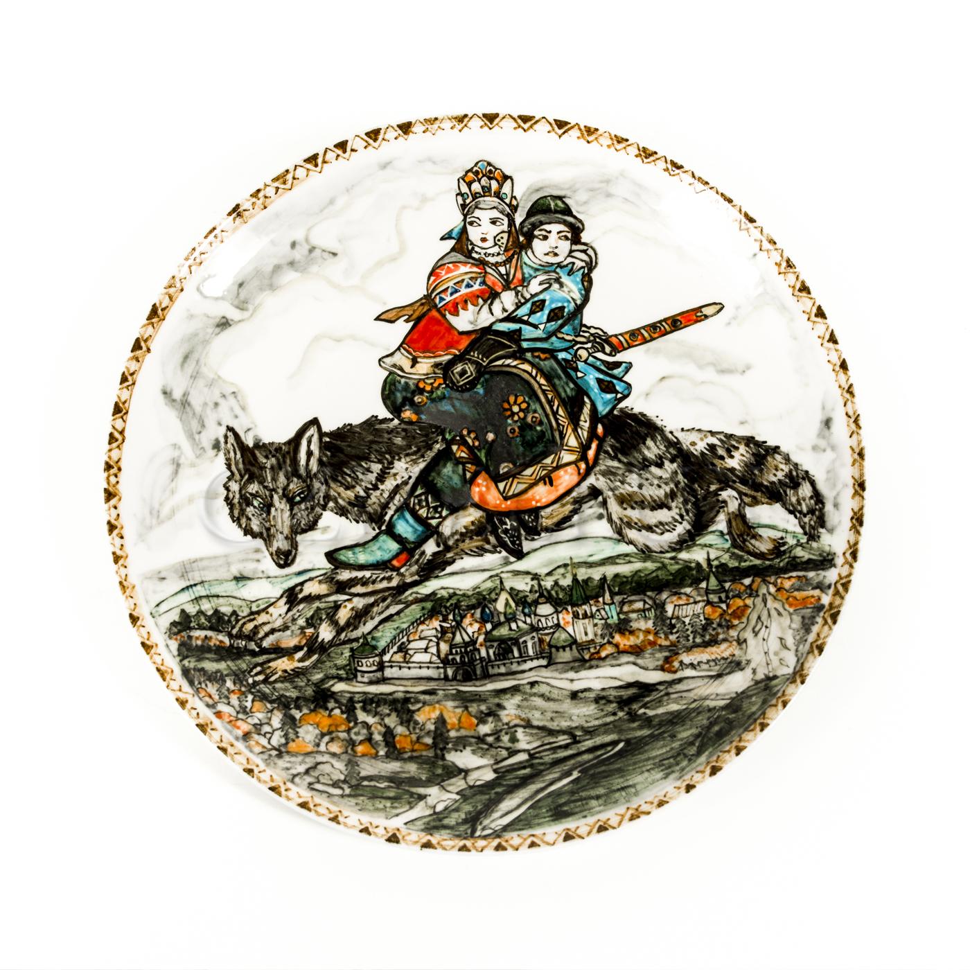 Тарелка декоративная «Иван царевич и серый волк»