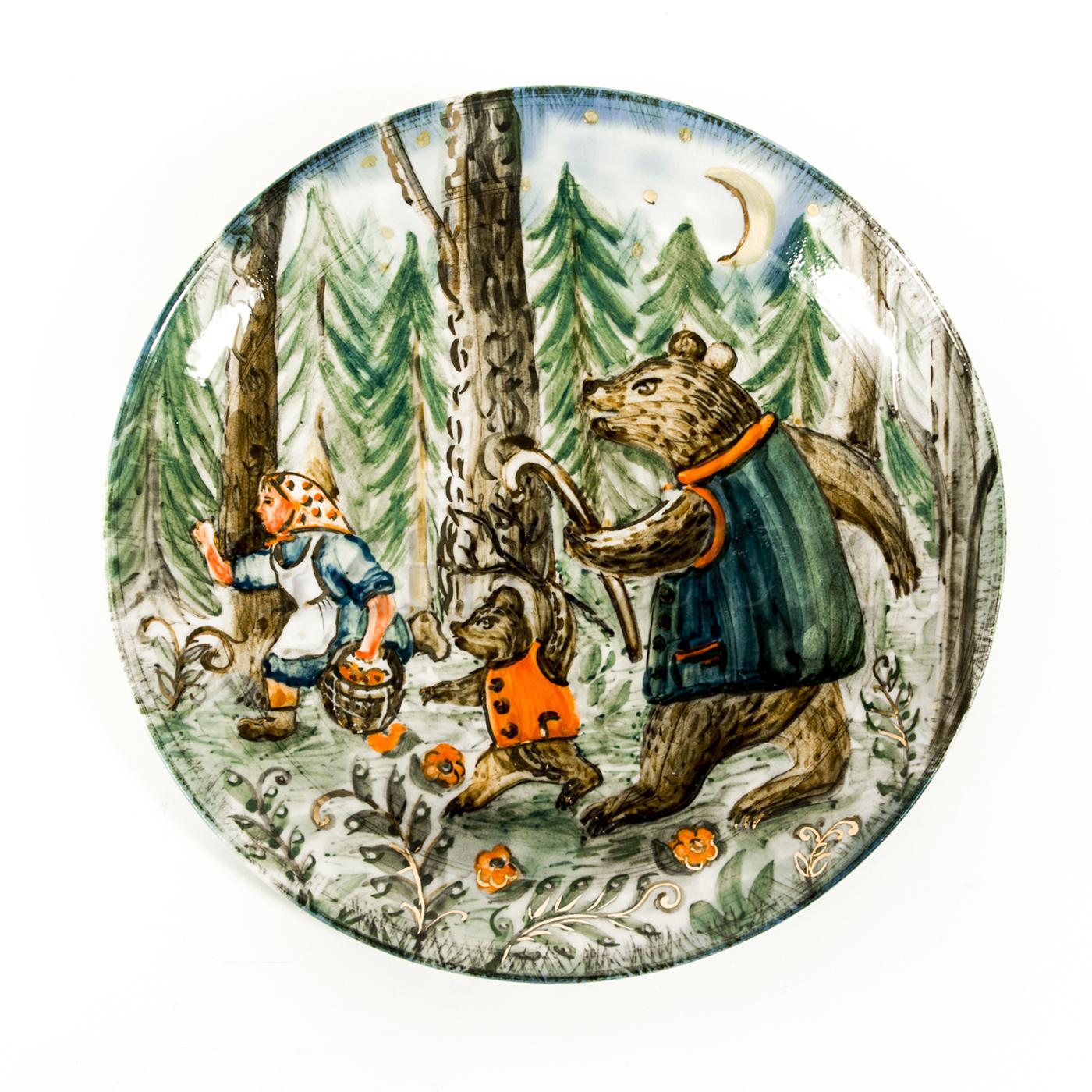 Тарелка декоративная «Маша и Медведи» в красках