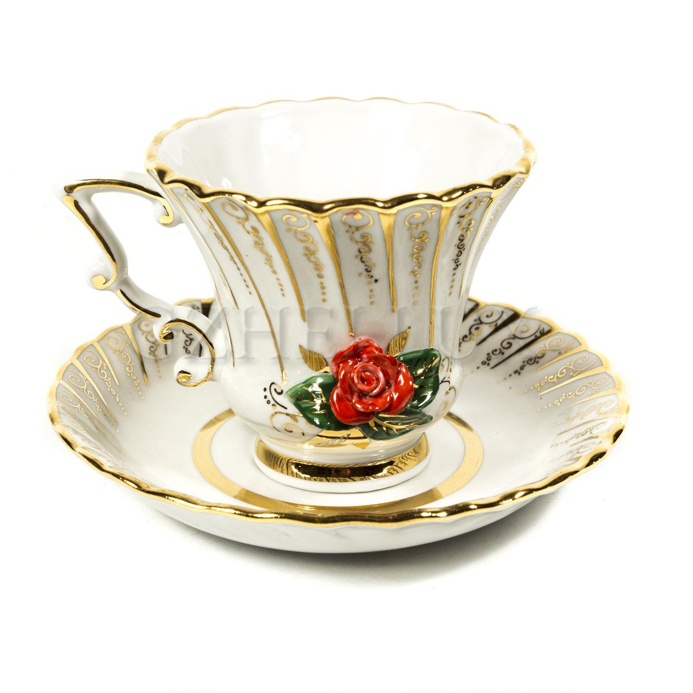 Чайная пара «Роза» в красках