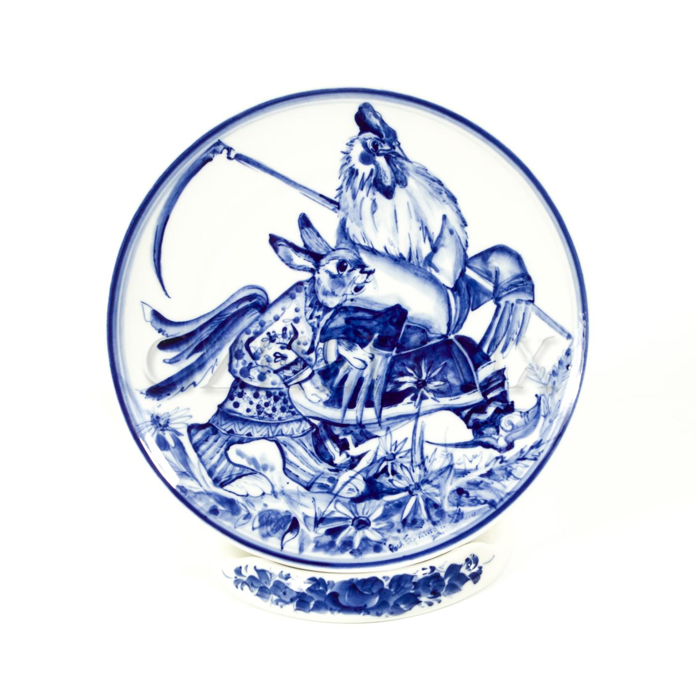 Тарелка декоративная «Петух и Заяц»