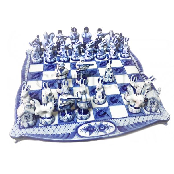 Шахматы «Охотничьи» Гжель