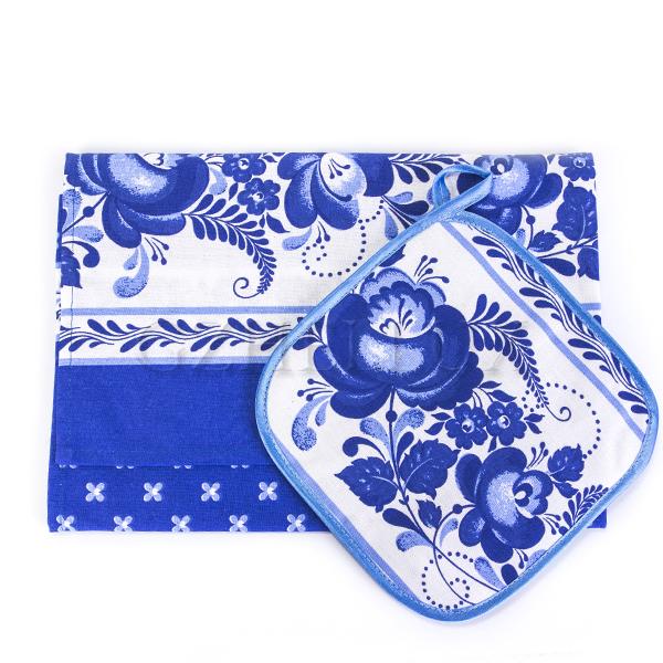 Кухонный набор – полотенце и прихватка «Гжель»