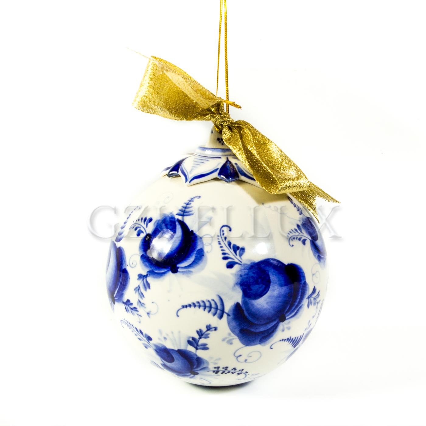 Ёлочный шар «Синие розы»