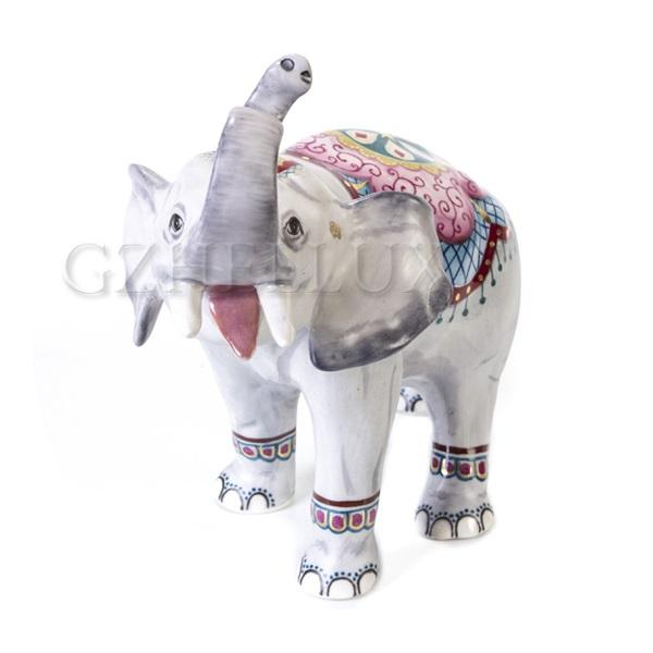 Скульптура «Слон с Бивнями» в красках, роспись «Индия»