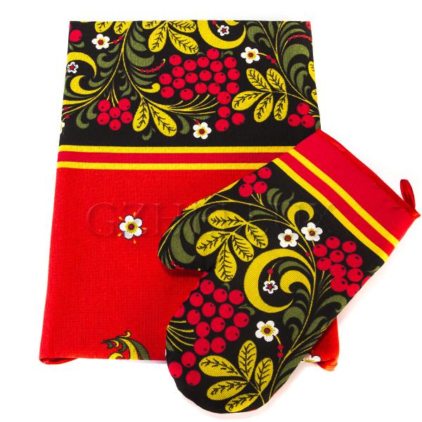 Кухонный набор – полотенце и рукавица «Хохлома»
