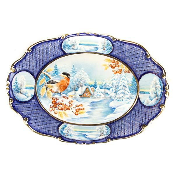 Поднос декоративный «Снегирь на Рябине»