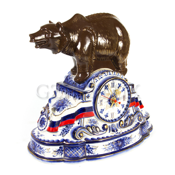 Часы «Медведь — символ России» в золоте