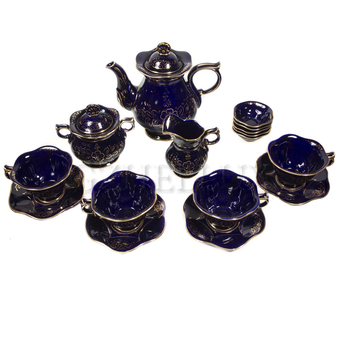 Сервиз чайный «Сияние» в золоте (глухой кобальт)