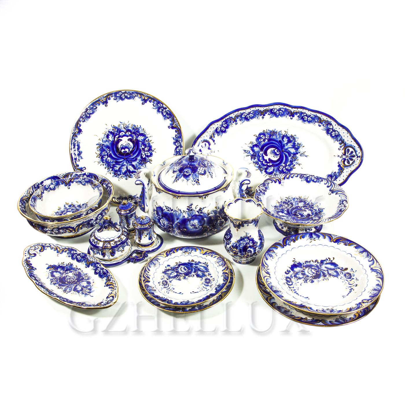 Сервиз столовый «Синие Розы» в золоте