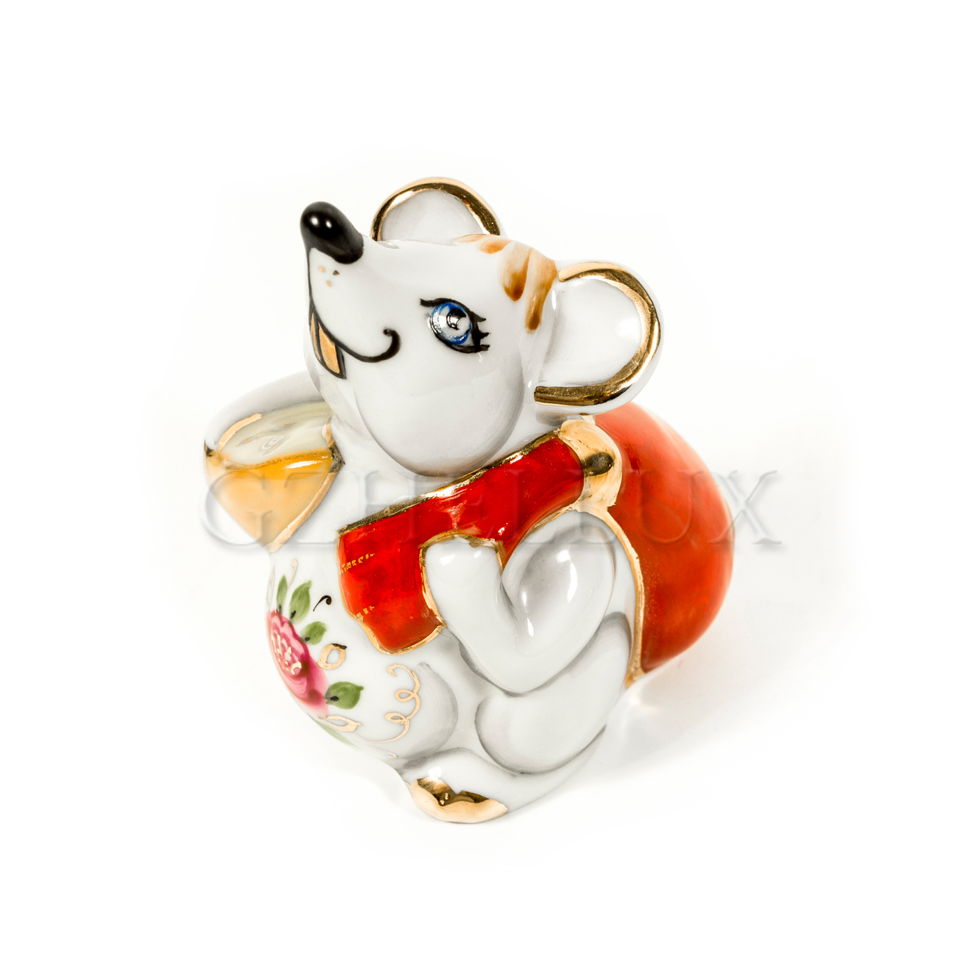 Скульптура «Мышонок с подарком» в красках