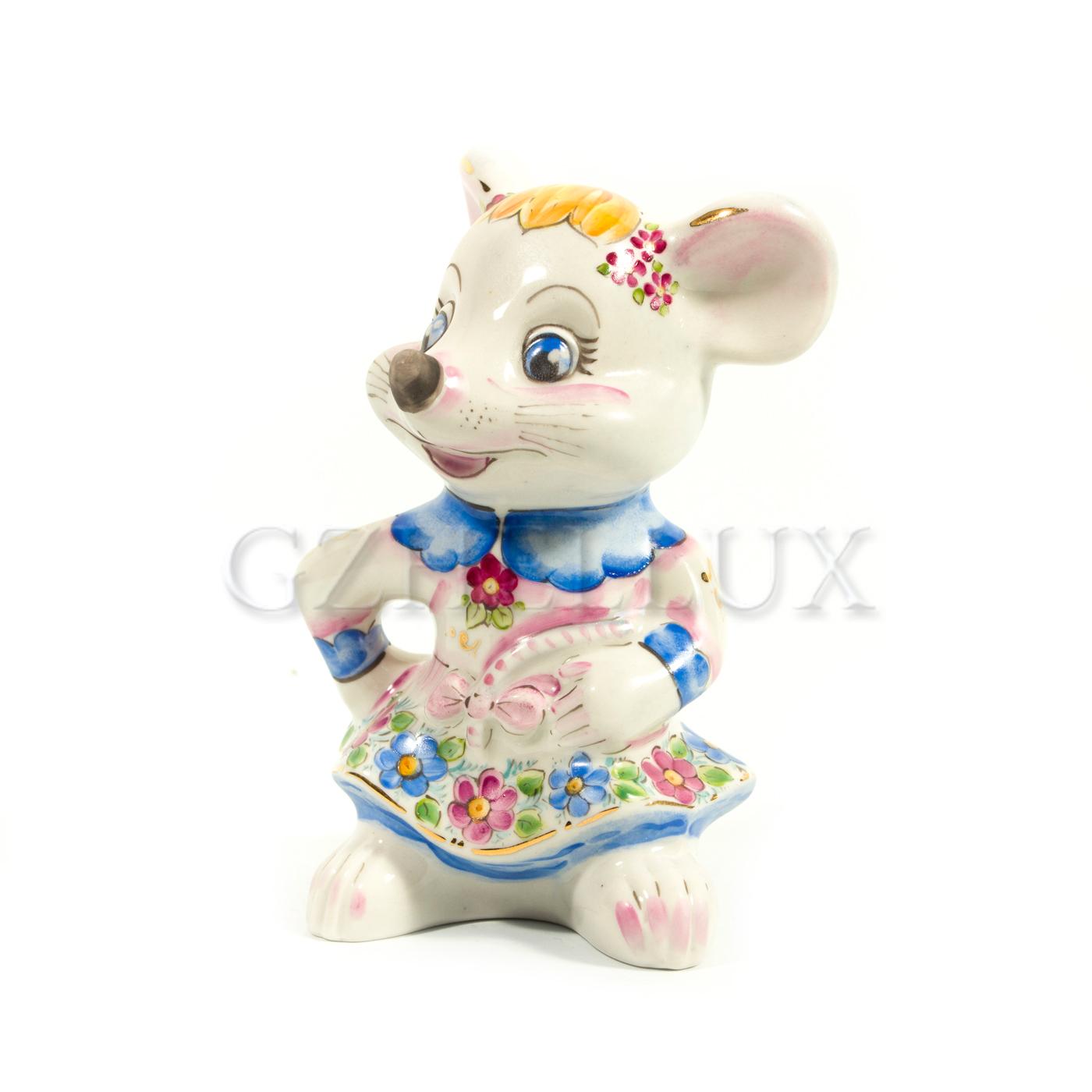 Скульптура «Мышка Лиза» в красках