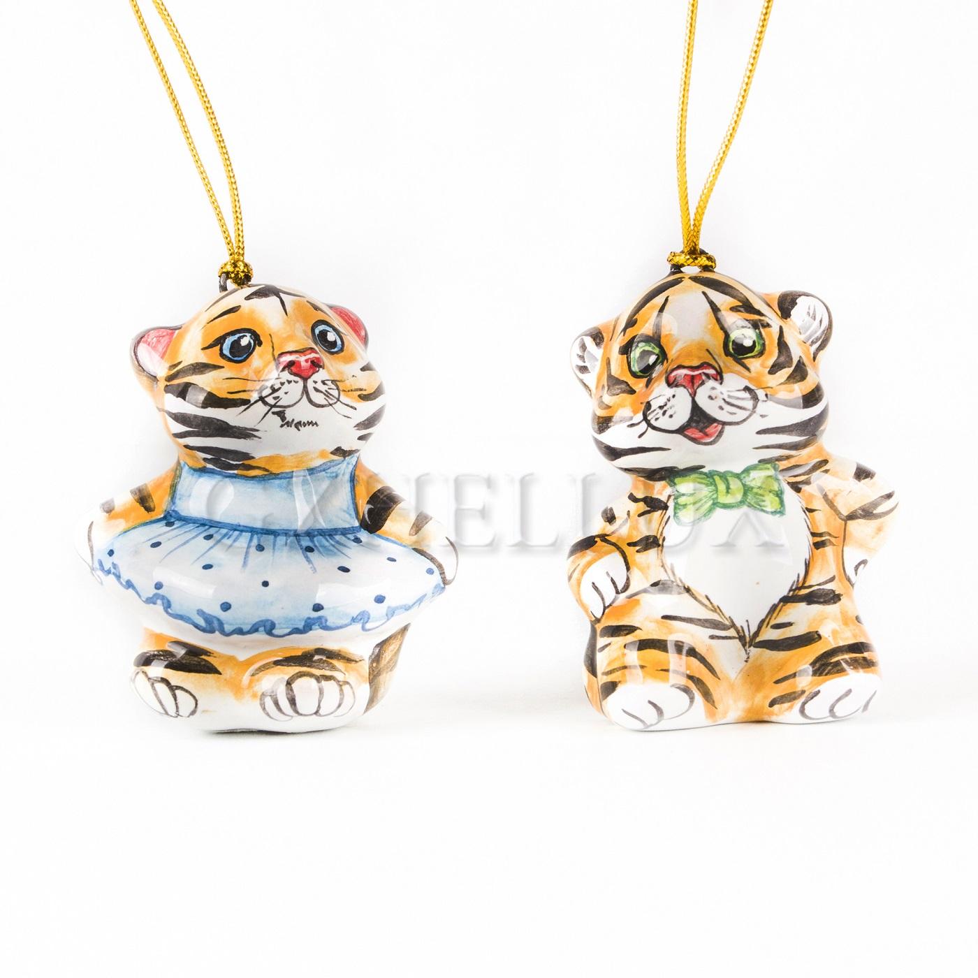 Набор ёлочных игрушек «Тигрята 2022» (майолика)
