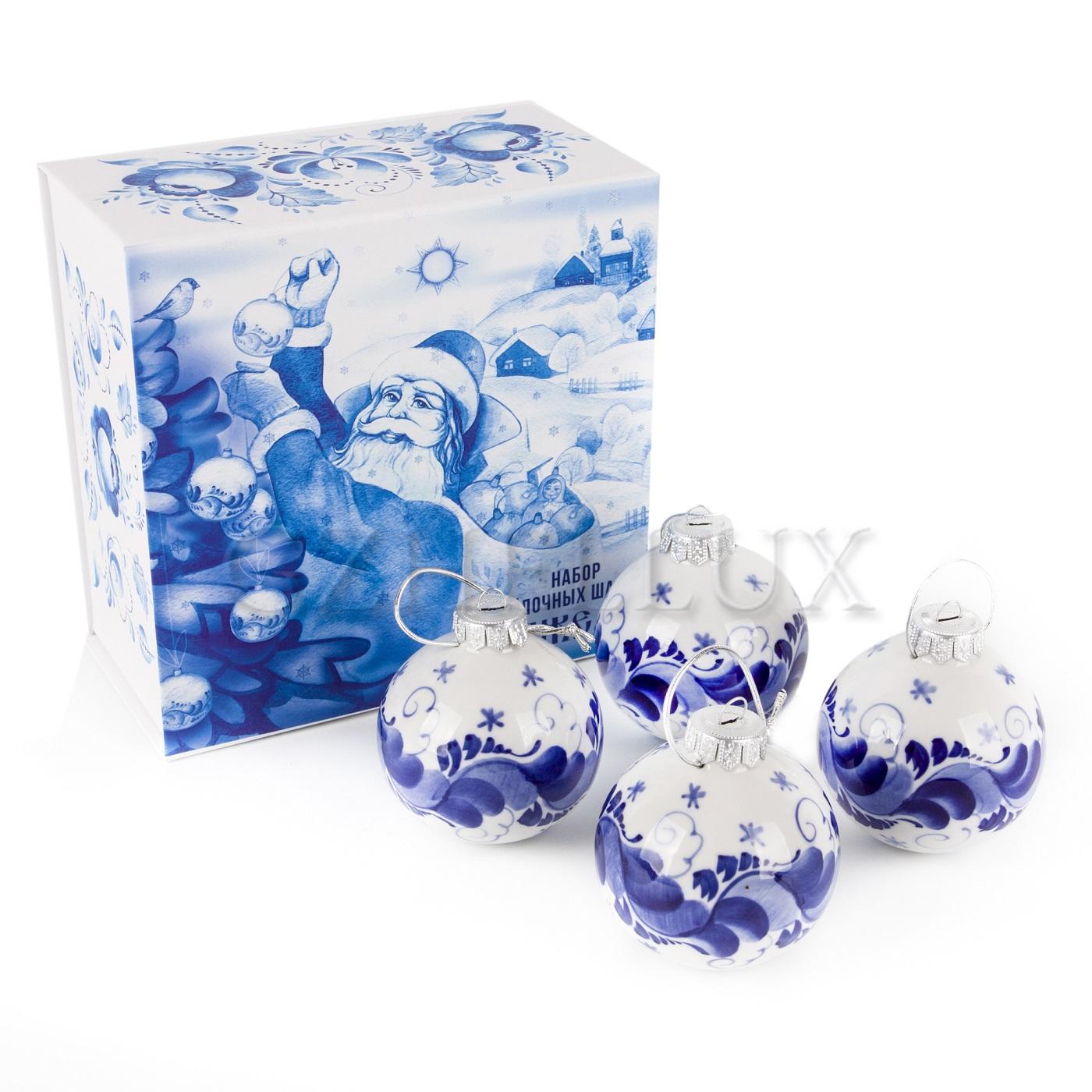Набор ёлочных шаров «Гжель» 4 шт.